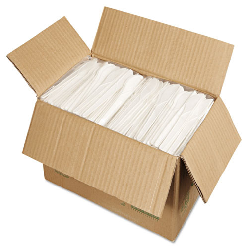Eco-Products Plantware Compostable Cutlery  Knife  6   Pearl White  50 Pack  20 Pack Carton (ECOEPS011)