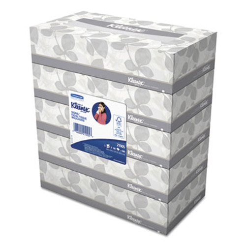 Kleenex White Facial Tissue, 2-Ply, 100 Tissues/Box, 5 Boxes/Pack, 6 Packs/Carton (KCC21005)
