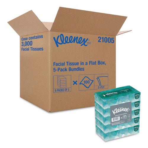 Kleenex White Facial Tissue  2-Ply  100 Sheets Box  5 Boxes Pack  6 Packs Carton (KCC21005)
