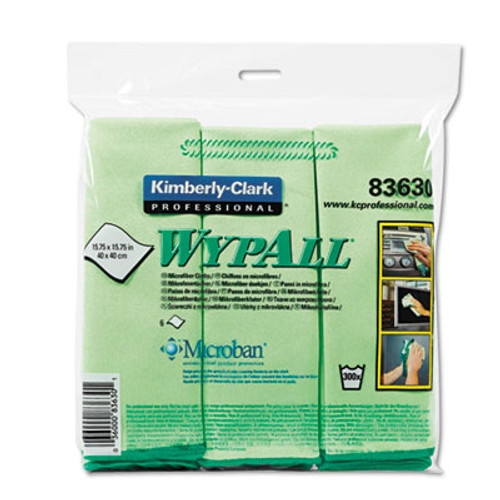 WypAll Microfiber Cloths  Reusable  15 3 4 x 15 3 4  Green  24 Carton (KCC83630CT)