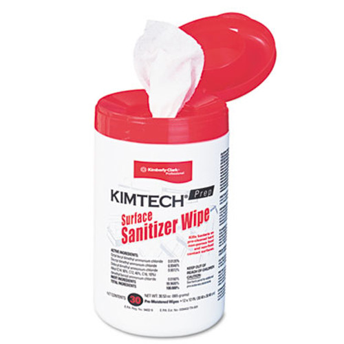 Kimtech Surface Sanitizer Wipe  12 x 12  White  30 Canister (KCC58040CT)
