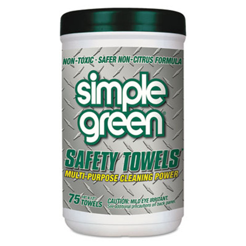 Simple Green Safety Towels  10 x 11 3 4  75 Canister  6 per Carton (SMP13351CT)