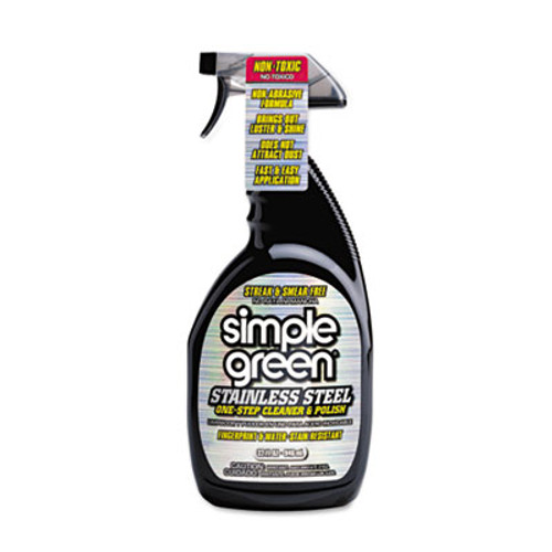 Simple Green Stainless Steel One-Step Cleaner and Polish  32 oz Spray Bottle  12 Carton (SMP18300CT)