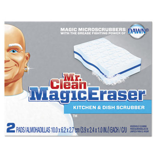 "Mr. Clean Magic Eraser Kitchen Scrubber, 3 9/10"" x 2 2/5"", 2/Box, 12 Boxes/Carton (PGC47546CT)"