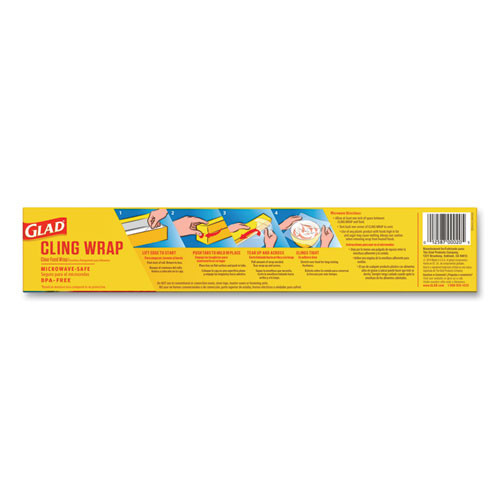 Glad ClingWrap Plastic Wrap  200 Square Foot Roll  Clear  12 Carton (CLO00020CT)