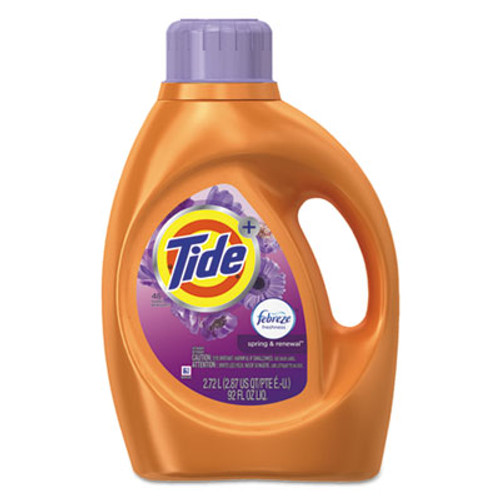 Tide Plus Febreze Liquid Laundry Detergent  Spring   Renewal  92oz Bottle  4 Carton (PGC87566CT)
