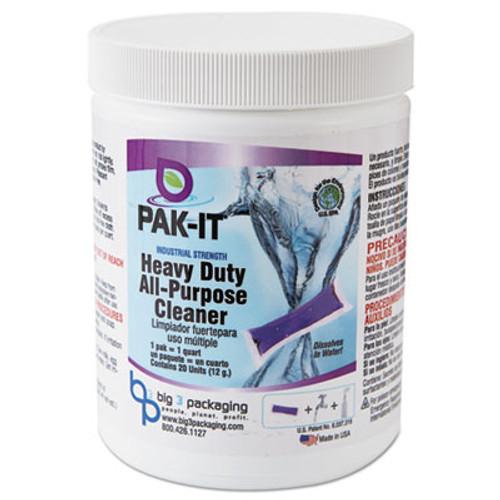PAK-IT Heavy-Duty All-Purpose Cleaner  Pleasant Scent  20 PAK-ITs Jar  12 Carton (BIG5744202240CT)
