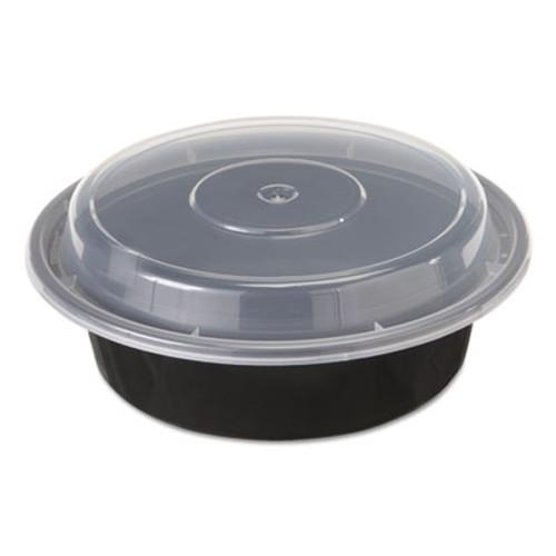 Pactiv VERSAtainers  1-Comp  Black Clear  16oz  6 dia  150 Carton (PCTNC718B)