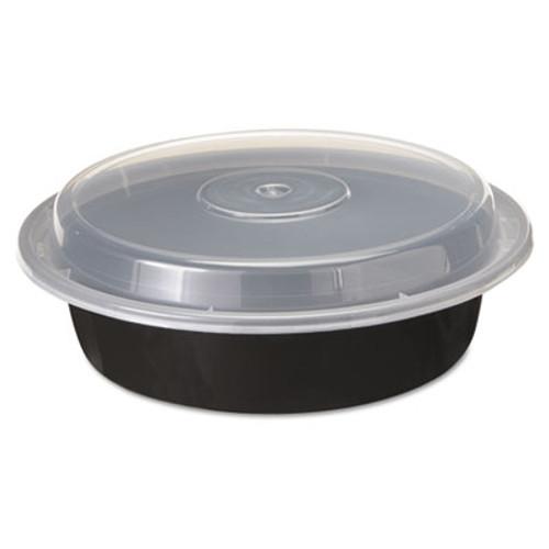 Pactiv VERSAtainers  1-Comp  Black Clear  24oz  7 dia  150 Carton (PCTNC723B)
