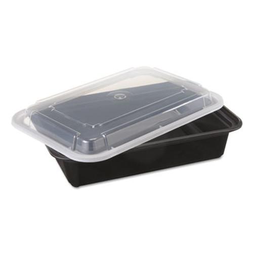 Pactiv VERSAtainers  Black Clear  38oz  6w x 8 1 2d x 2h  150 Carton (PCTNC888B)