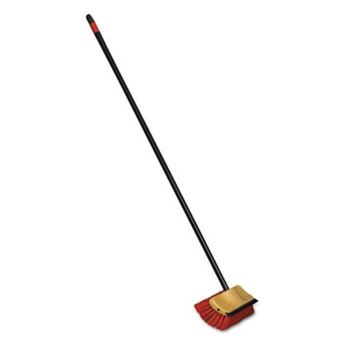 "O-Cedar Commercial Bi-Level Floor Scrub Brush, Polypro Bristles, 10"" Block, 54""Handle, Beige/Black (DVOCB066155)"