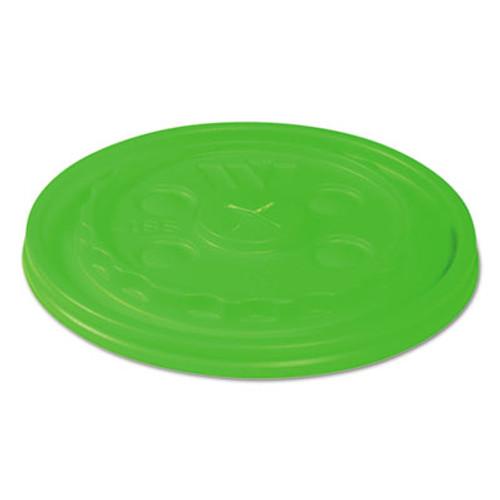 WinCup Vio Biodegradable Lids f 12-24 oz Cups  Straw-Slot  Green  1000 Carton (WCPL18SVIO)