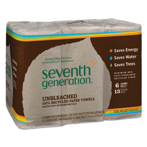 Seventh Generation Natural Unbleached 100% Recycled Paper Towel Rolls, 11 x 9, 120 SH/RL, 6 RL/PK (SEV13737PK)