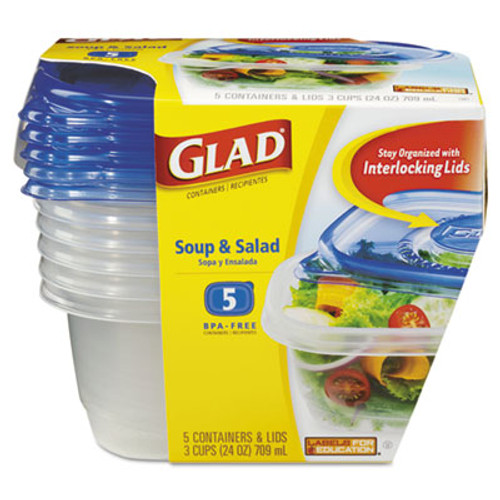 Glad GladWare Soup and Salad Food Storage Containers 24 oz, 5/Pack (CLO60796PK)