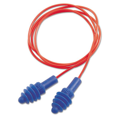 Howard Leight by Honeywell DPAS-30R AirSoft Multiple-Use Earplugs  27NRR  Red Polycord  Blue  100 Box (UVXDPAS30R)