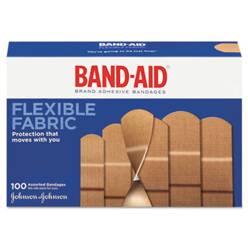 BAND-AID Flexible Fabric Adhesive Bandages  Assorted  100 Box (JOJ11507800)