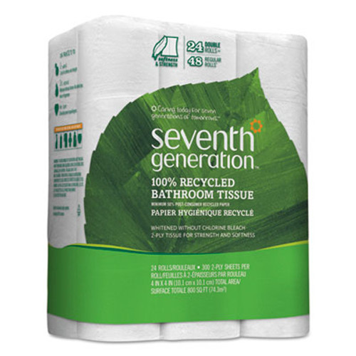 Seventh Generation 100% Recycled Bathroom Tissue, 2-Ply, White, 300 Sheets/Roll, 24/Pack (SEV13738)