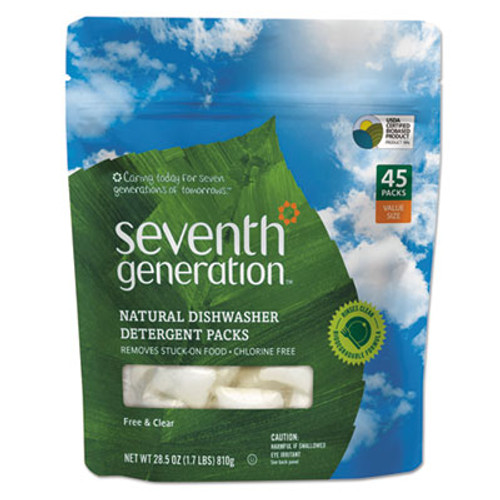 Seventh Generation Natural Dishwasher Detergent Concentrated Packs  Free   Clear  45 Packets Pack (SEV22897)