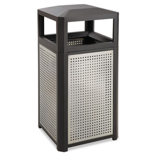 Safco Evos Series Steel Waste Container, 38gal, Black (SAF9934BL)