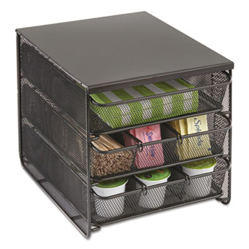 Safco 3 Drawer Hospitality Organizer  7 Compartments  11 1 2w x 8 1 4d x 8 1 4h  Bk (SAF3275BL)