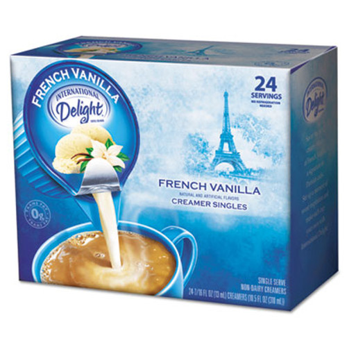 International Delight Flavored Liquid Non-Dairy Coffee Creamer  French Vanilla  0 4375 oz Cup  24 Box (ITD100681)