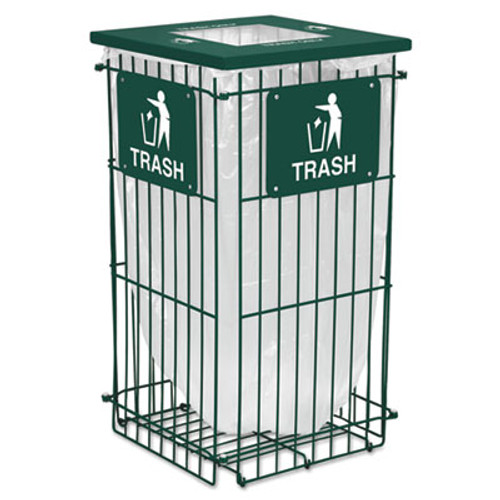 Ex-Cell Clean Grid Fully Collapsible Waste Receptacle, Square Top, 45gal, Hunter Green (EXCRGU1836THGR)