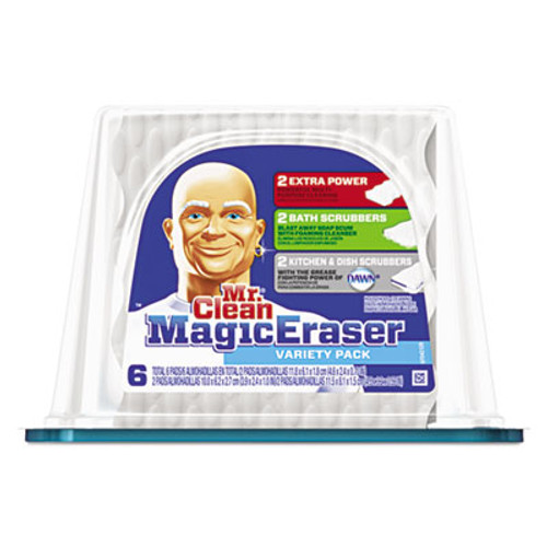"Mr. Clean Magic Eraser Foam Pad, 2 2/5"" x 4 3/5"", Variety Pack, White/Blue, 6/Pack (PGC80393)"