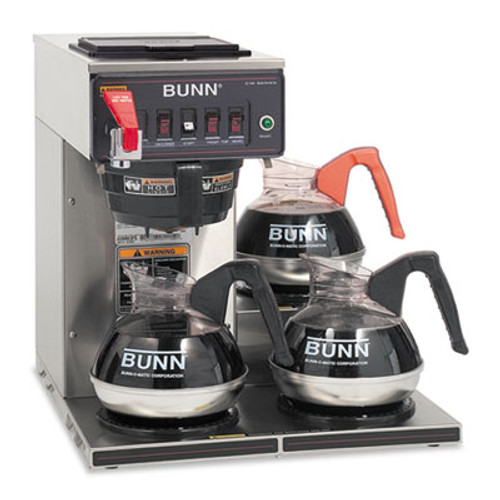 BUNN CWTF-3 Three Burner Automatic Coffee Brewer  Stainless Steel  Black (BUNCWTF153LP)
