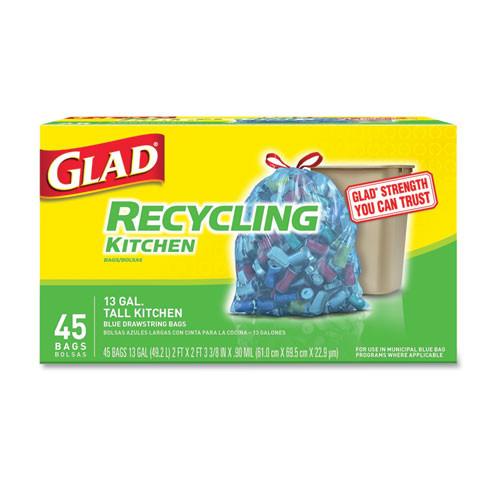 Glad Tall Kitchen Blue Recycling Bags  13 gal  0 9 mil  Blue  180 Carton (CLO78542)