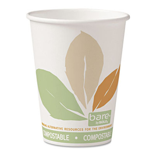 Dart Bare  by Solo Eco-Forward PLA Paper Hot Cups  12oz Leaf Design 50 Bag 20 Bags Ct (SCC412PLNJ7234)