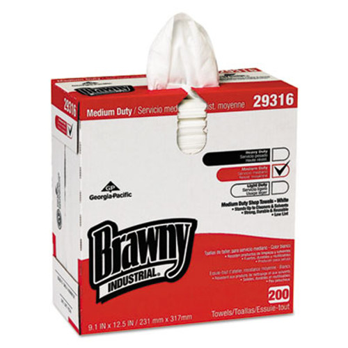 "Georgia Pacific Professional Brawny Industrial Lightweight Shop Towel, 9 1/10"" x 12 1/2"", White, 200/Box (GPC29316)"