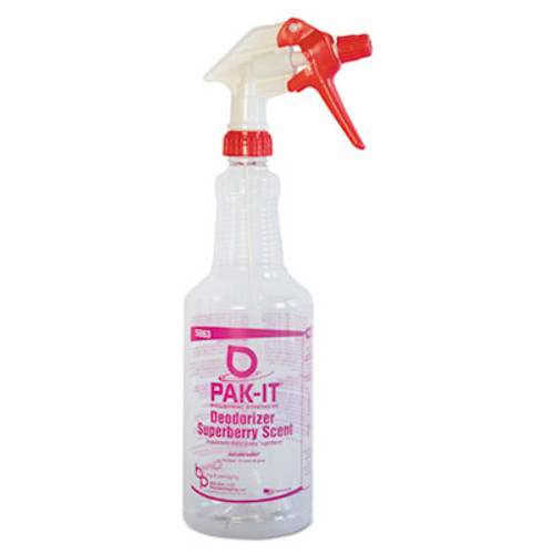 PAK-IT Color-Coded Trigger-Spray Bottle, 32 oz, Dark Red: Deodorizer - Superberry Scent (BIG586320004012)