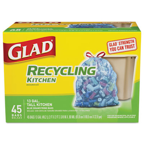 Glad Tall Kitchen Blue Recycling Bags  13 gal  0 9 mil  27 38  x 24   Translucent Blue  45 Box (CLO78542BX)