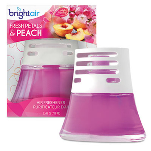 BRIGHT Air Scented Oil Air Freshener Diffuser, Fresh Petals and Peach, Pink, 2.5oz,6/Carton (BRI900134CT)
