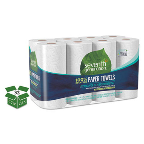 Seventh Generation 100  Recycled Paper Towel Rolls  2-Ply  11 x 5 4 Sheets  156 Sheets RL  32RL CT (SEV13739CT)