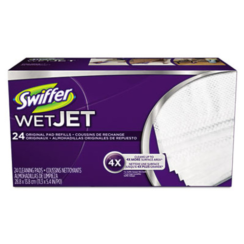 Swiffer WetJet System Refill Cloths  11 3  x 5 4   White  24 Box  4 Ctn (PGC08443CT)