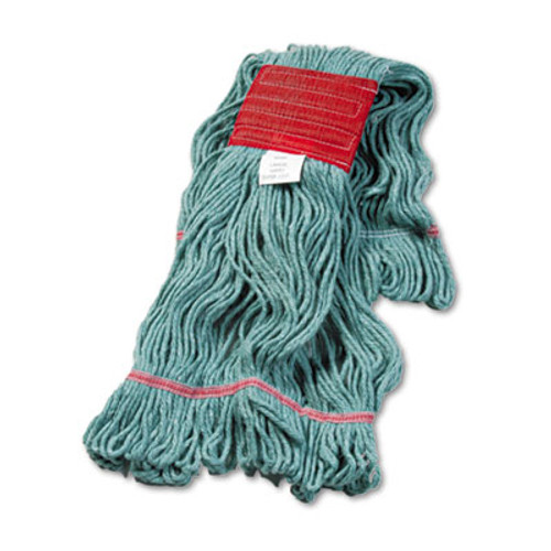 Boardwalk Super Loop Wet Mop Head  Cotton Synthetic Fiber  5  Headband  Large Size  Green  12 Carton (BWK503GNCT)