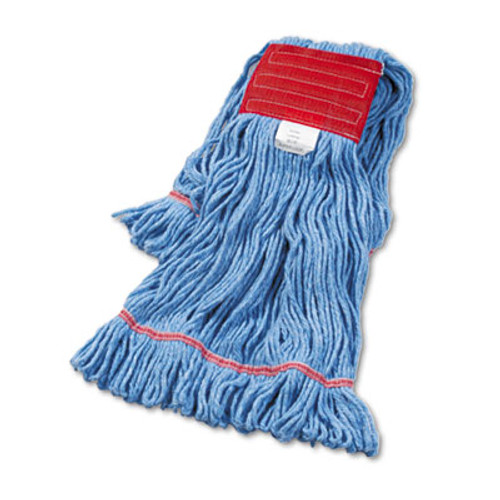 Boardwalk Super Loop Wet Mop Head  Cotton Synthetic Fiber  5  Headband  Large Size  Blue  12 Carton (BWK503BLCT)