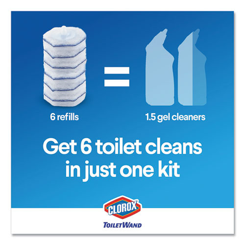 Clorox Toilet Wand Disposable Toilet Cleaning Kit  Handle  Caddy and Refills  6 Carton (CLO03191CT)