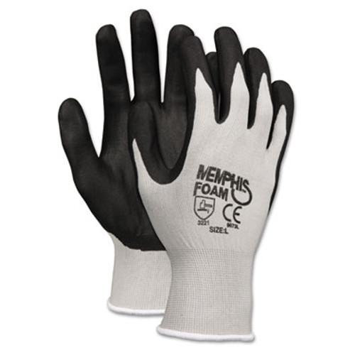 MCR Safety Economy Foam Nitrile Gloves  Large  Gray Black  12 Pairs (CRW9673L)