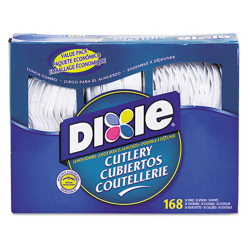 Dixie Combo Pack  Tray with White Plastic Utensils  56 Forks  56 Knives  56 Spoons (DXECM168)