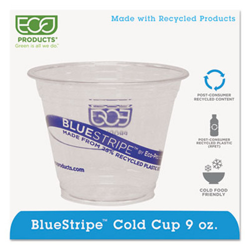 Eco-Products BlueStripe 25  Recycled Content Cold Cups  9 oz   Clear Blue  50 Pk  20 Pk Ct (ECOEPCR9)