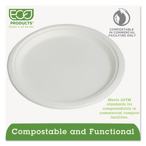 Eco-Products Compostable Sugarcane Dinnerware  10  Plate  Natural White  50 Pack (ECOEPP005PK)