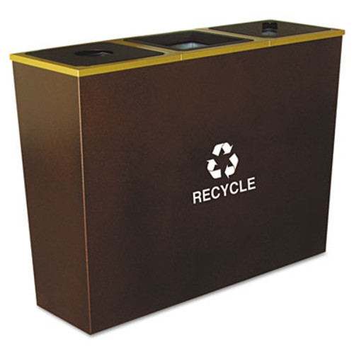 Ex-Cell Metro Collection Recycling Receptacle  Triple Stream  Steel  54 gal  Brown (EXCRCMTR3HCP)