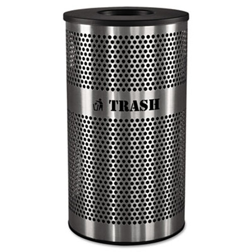 Ex-Cell Stainless Steel Trash Receptacle  33 gal  Stainless Steel (EXCVCT33PERFS)