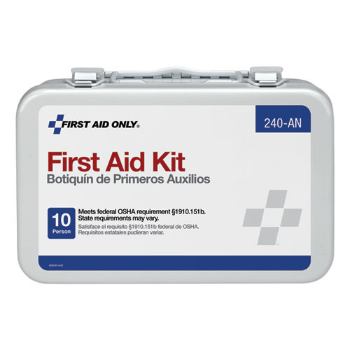 First Aid Only Unitized First Aid Kit for 10 People  64-Pieces  OSHA ANSI  Metal Case (FAO240AN)