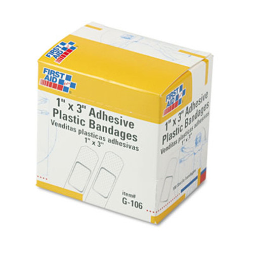 First Aid Only Plastic Adhesive Bandages  1  x 3   100 Box (FAOG106)