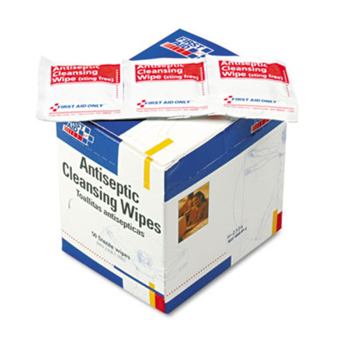 First Aid Only Antiseptic Cleansing Wipes  50 Box (FAOH307)