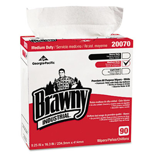 Georgia Pacific Professional Medium-Duty Premium Wipes  9 1 4 x 16 3 8  White  90 Wipes Box  10 Boxes Carton (GPC2007003CT)