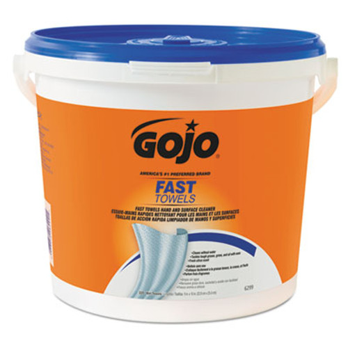 GOJO FAST TOWELS Hand Cleaning Towels  Cloth  9 x 10  Blue 225 Bucket (GOJ629902EA)